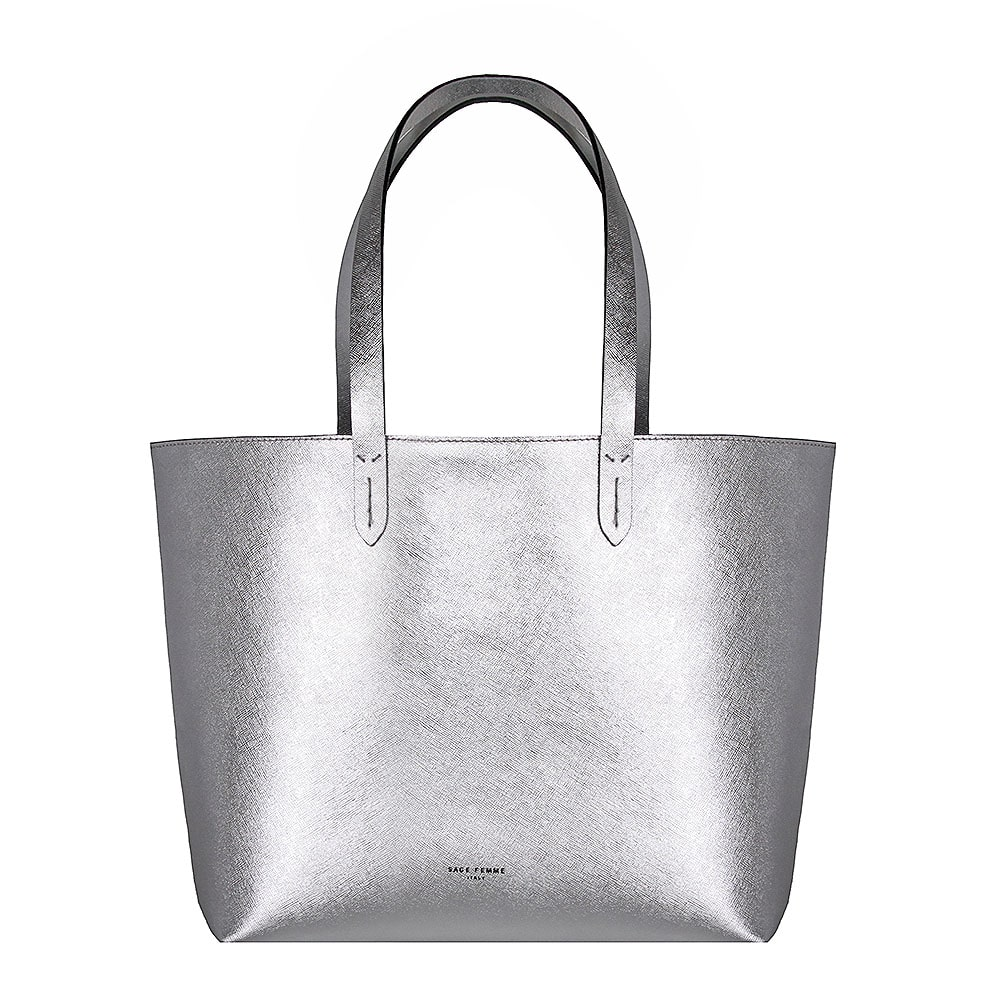 a1c53c48d081 Siddharth Silver Metallic Leather Tote Bag Pure Yes Rs. Silver Tote Bag  Sage Femme Italy